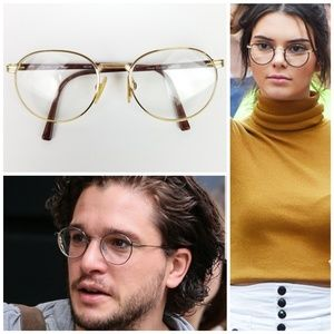 Vintage 80's Silhouette Gold & Brown Round Glasses